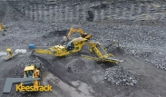 Keestrack Saturno Jaw crusher and Frontier Scalper in Quarry demo